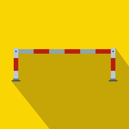 traffic barricade: Barrier icon in flat style on a yellow background Illustration