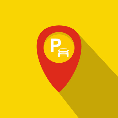 excursions: Map pointer with car parking icon in flat style on a yellow background