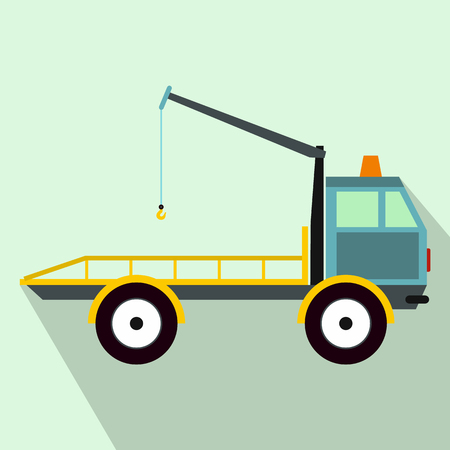 evacuating: Car towing truck icon in flat style on a light blue background Illustration