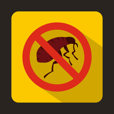 parasites: Etching insect icon in flat style with long shadow. Parasites symbol