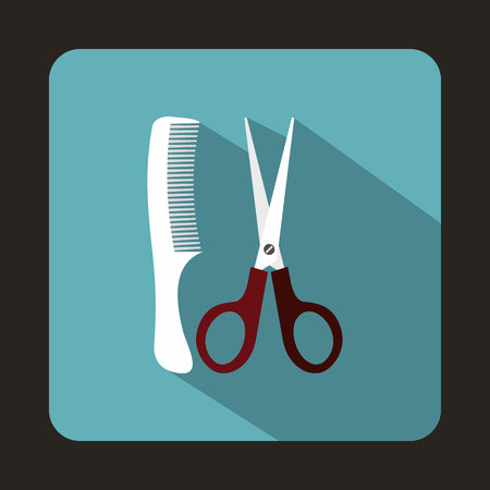 hairstyling: Scissors and comb icon in flat style with long shadow. Tools for hairdresser symbol