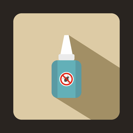 no mosquito: Insect spray icon in flat style with long shadow. Protection symbol
