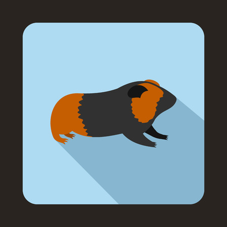 gnawer: Hamster icon in flat style with long shadow. Animals symbol