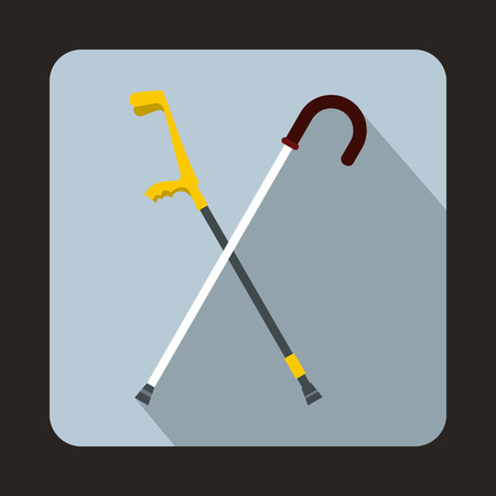 old couple walking: Walking cane icon in flat style with long shadow. Help people symbol