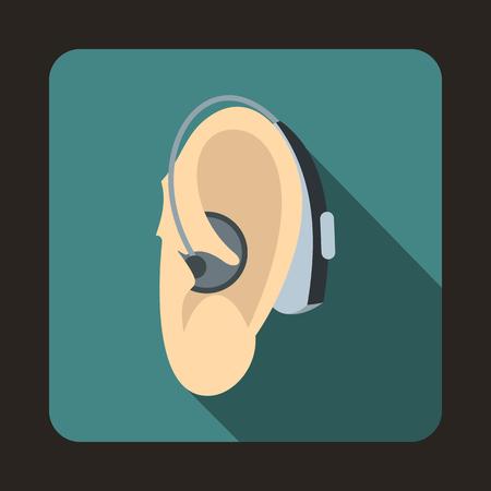 icono de la prótesis de oído en el estilo plano con una larga sombra. símbolo del equipo