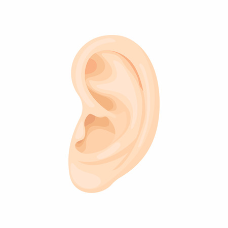 medical attention: Human ear icon in cartoon style on a white background