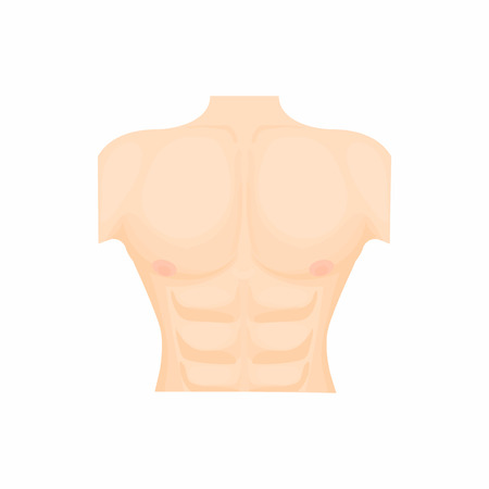 unclothed: Human chest icon in cartoon style on a white background