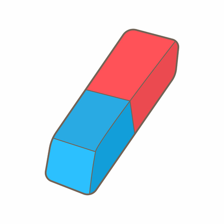 Blue and red rubber pencil eraser icon in cartoon style on a white background Ilustração