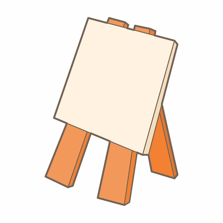 easel: Wooden easel icon in cartoon style on a white background Illustration