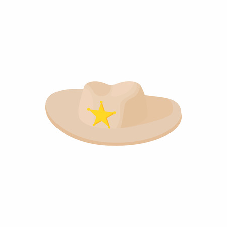 queensland: Cowboy hat with star icon in cartoon style on a white background