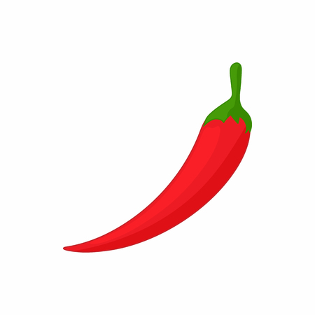 capsaicin: Hot chili pepper icon in cartoon style on a white background Illustration