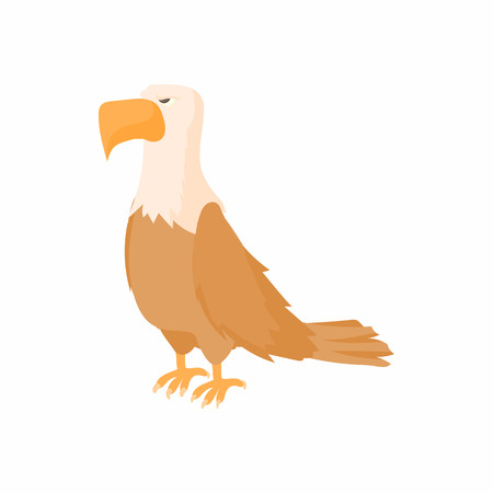 patriotic eagle: Bald eagle icon in cartoon style on a white background
