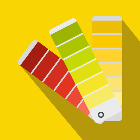 color selection: Paint color selection booklet icon in flat style on a yellow background