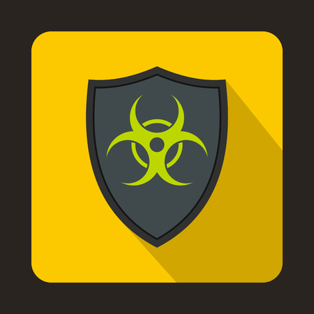 infectious waste: Gray shield with a biohazard sign icon in flat style on a yellow background