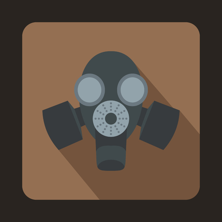 nuclear fear: Black gas mask icon in flat style on a brown background
