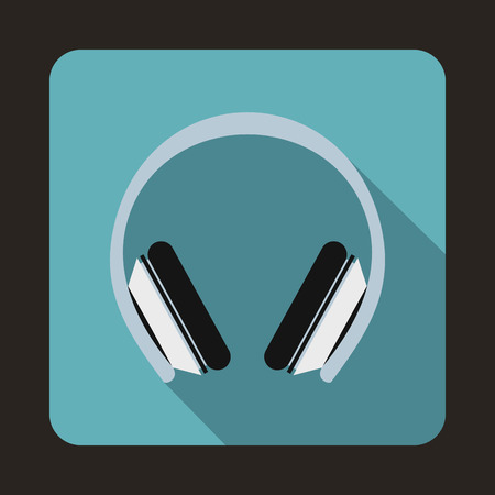 earmuff: Protective headphones icon in flat style on a blue background