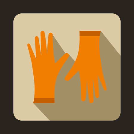 protective gloves: Orange protective gloves icon in flat style on a beige background