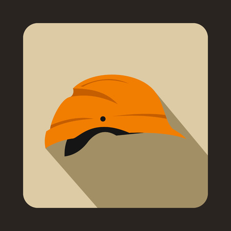 mine site: Orange hardhat icon in flat style on a beige background