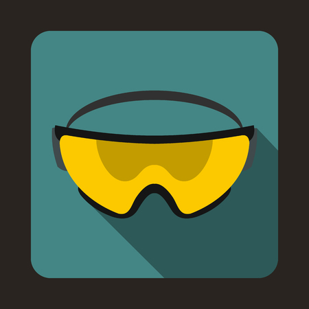personal protective equipment: Yellow safety glasses icon in flat style on a blue background