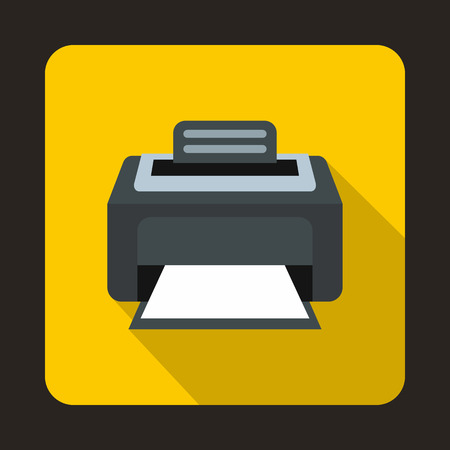 laser printer: Modern laser printer icon in flat style on a yellow background