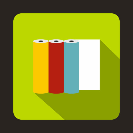 format: Rolls of colored paper icon in flat style on a green background