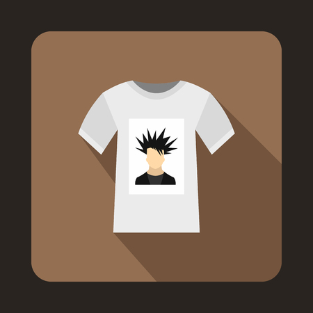 brown shirt: White shirt with print of man portrait icon in flat style on a brown background