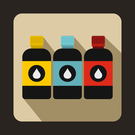 printer ink: Printer ink bottles icon in flat style on a brown background Illustration