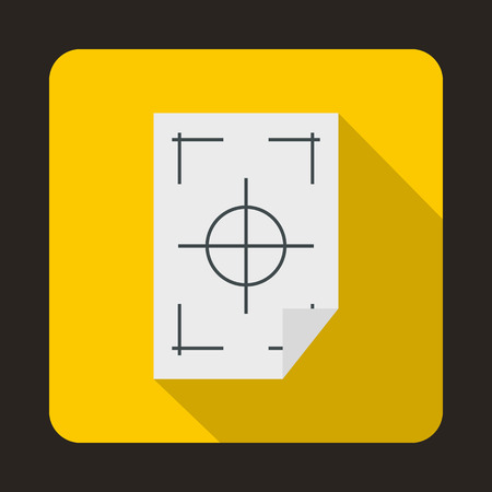 multifunction printer: Printer marks on a paper icon in flat style on a yellow background