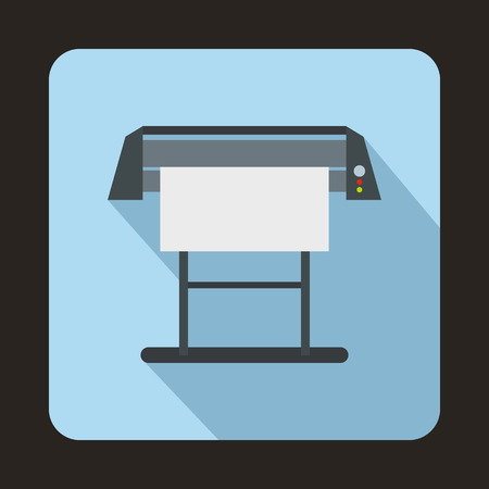 inkjet: Large format inkjet printer icon in flat style on a blue background Illustration