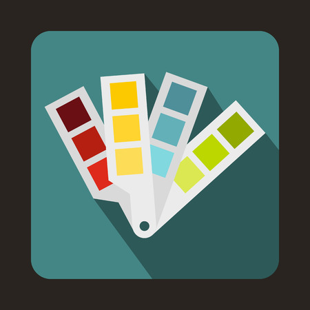color guide: Color palette guide icon in flat style on a blue background