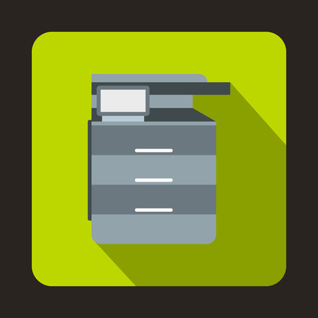 multifunction printer: Multipurpose device, fax, copier and scanner icon in flat style on a green background