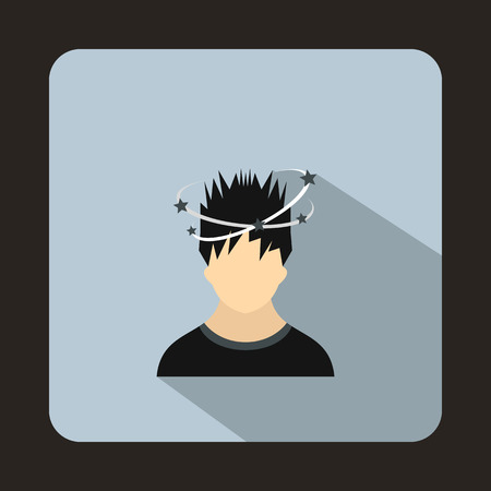 dizziness: Man with dizziness icon in flat style on a light blue background