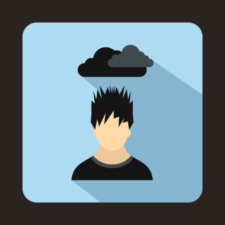 dark cloud: Depressed man with dark cloud over his head icon in flat style on a light blue background