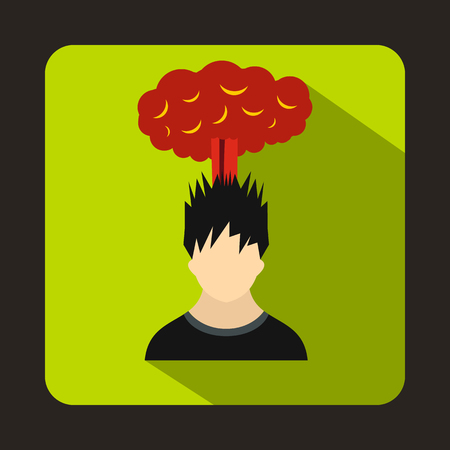 despondency: Man with red cloud over head icon in flat style on a green background