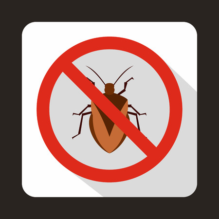 itch: No bug sign icon in flat style on a white background