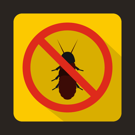 termite: No termite sign icon in flat style on a yellow background