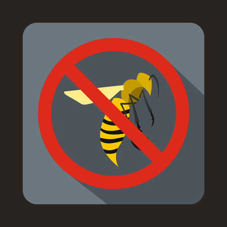 itch: No wasp sign icon in flat style on a gray background Illustration