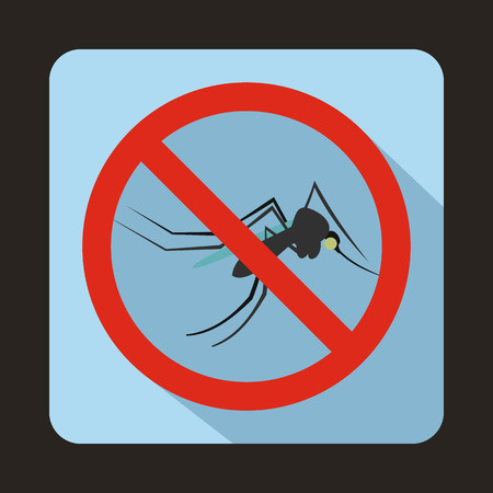 no mosquito: No mosquito sign icon in flat style on a light blue background Illustration