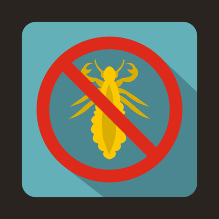 louse: No louse sign icon in flat style on a blue background