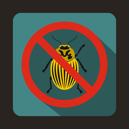 itch: No potato beetle sign icon in flat style on a blue background Illustration