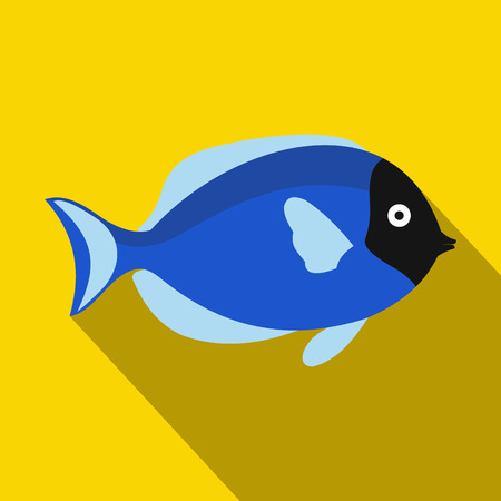 surgeon fish: Surgeon fish icon in flat style with long shadow. Sea and ocean symbol Illustration
