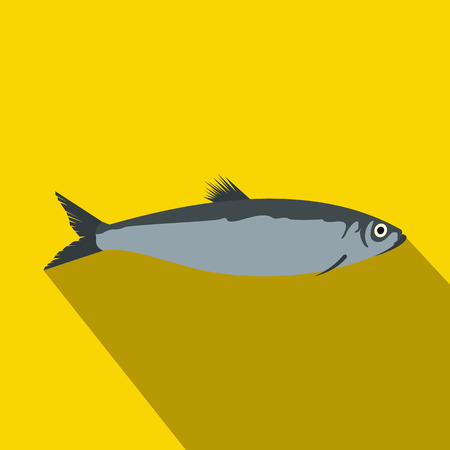 herring: Herring icon in flat style with long shadow. Sea and ocean symbol
