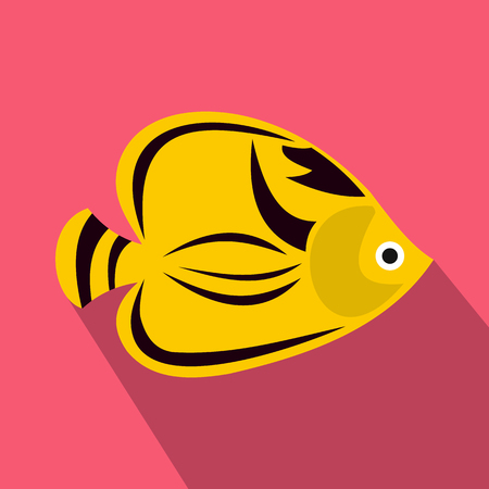 tang: Fish yellow tang icon in flat style with long shadow. Sea and ocean symbol