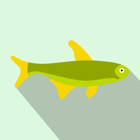 tang: Trout fish icon in flat style with long shadow. Sea and ocean symbol