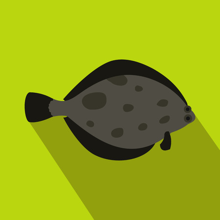 plaice: Fish flounder icon in flat style with long shadow. Sea and ocean symbol