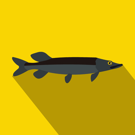 pike: Pike fish icon in flat style with long shadow. Fishing symbol