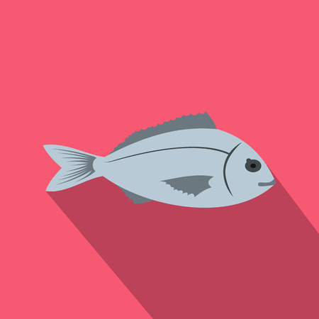 saltwater: Saltwater fish icon in flat style with long shadow. Sea and ocean symbol Illustration