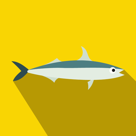 Smelt fish icon in flat style with long shadow. Sea and ocean symbol Illustration