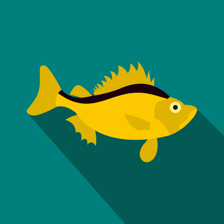 ruff: Ruff fish icon in flat style with long shadow. Sea and ocean symbol Illustration