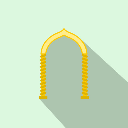frontage: Yellow arch icon in flat style with long shadow. Construction and interiors symbol Illustration